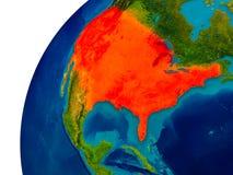 Les Etats-Unis sur le globe Image stock