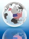 Les Etats-Unis sur le globe politique Images stock