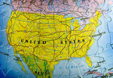 Les Etats-Unis sur le puzzle Photographie stock