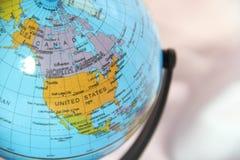 Les Etats-Unis sur un globe Photos stock