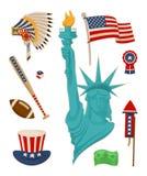 Les Etats-Unis Symbolysm et statue de Liberty Vector Banner illustration de vecteur