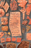 Les Etats-Unis, Tempe/Arizona : L'art en céramique des enfants (détail) : Poème par e E cummings photo stock