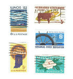 LES ETATS-UNIS : Timbres utilisés de l'Illinois, Nébraska L'Indiana, l'Arkansas et le Mississippi Images libres de droits