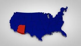 Les Etats-Unis tracent avec l'Arizona 3d highlited par carte rendent Illustration Stock