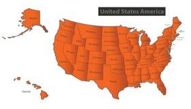 Les Etats-Unis tracent individualr distinct avec de l'Alaska et d'Hawaï de carte orange Image libre de droits