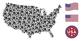 Les Etats-Unis tracent la mosaïque de la flèche vers le haut de la droite illustration libre de droits