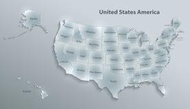 Les Etats-Unis tracent le papier en verre individuel distinct 3D avec de l'Alaska et d'Hawaï de carte carte illustration libre de droits