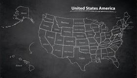 Les Etats-Unis tracent tableau individuel distinct avec de l'Alaska et d'Hawaï de carte tableau noir Image stock