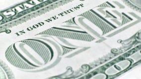 Les Etats-Unis un billet d'un dollar, un macro plan rapproché Photos stock