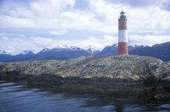 Les Euclaires Historic Lighthouse at Bridges Islands and Beagle Channel, Ushuaia, Argentina Royalty Free Stock Photo