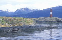 Les Euclaires Historic Lighthouse at Bridges Islands and Beagle Channel, Ushuaia, Argentina stock photo