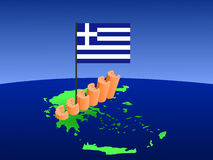 Les euro représentent graphiquement sur la carte de la Grèce Images stock