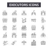 Les exécuteurs rayent des icônes, signes, ensemble de vecteur, concept d'illustration d'ensemble illustration libre de droits