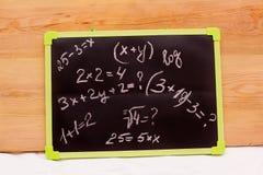 Les exemples instruisent écrit sur un tableau, Photo libre de droits