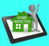 Les expositions à la maison de Tablette de Chambre d'inspection examinent le plan rapproché de propriété illustration de vecteur