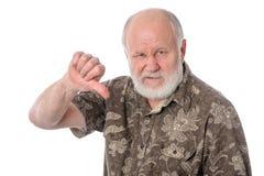 Les expositions d'homme supérieur parlent au geste de main, d'isolement sur le blanc image stock