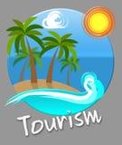 Les expositions de plage de tourisme vont sur le congé et les destinations illustration libre de droits