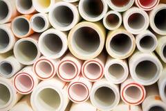 Les extrémités des tuyaux de polypropylène et de plastique Images libres de droits