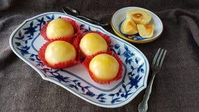 les fèves de mung ont salé la pâtisserie thaïlandaise chinoise de gâteau d'oeufs Photo libre de droits