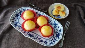les fèves de mung ont salé la pâtisserie thaïlandaise chinoise de gâteau d'oeufs Photographie stock libre de droits