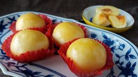 les fèves de mung ont salé la pâtisserie thaïlandaise chinoise de gâteau d'oeufs Images stock