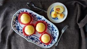 les fèves de mung ont salé la pâtisserie thaïlandaise chinoise de gâteau d'oeufs Images libres de droits