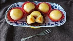 les fèves de mung ont salé la pâtisserie thaïlandaise chinoise de gâteau d'oeufs Photos libres de droits