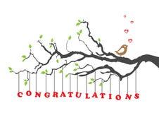 Les félicitations cardent avec l'oiseau Images libres de droits