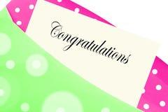 Les félicitations notent ou marquent avec des lettres Image stock
