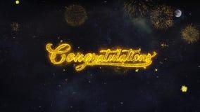 Les félicitations textotent des souhaits indiquent de la carte de voeux de particules de feu d'artifice illustration stock