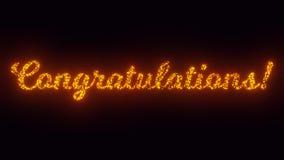 Les félicitations textotent sur le fond noir, étincelles de vol, animation de particules la 2d illustration libre de droits