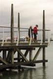 Les fabricants de vacances et leur chien sur le pilier de plate-forme de visionnement donnant sur Southampton arrosent chez Hythe Images stock
