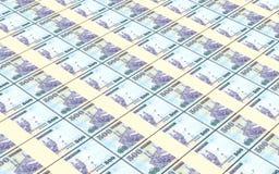 Les factures de rials de l'Arabie Saoudite ont empilé le fond Photos stock