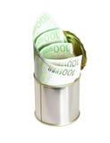 les factures mettent en boîte l'euro étain Photo stock