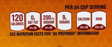 Les faits de nutrition marquent la portion préparée photos libres de droits