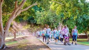 Les familles participent heureusement à la course d'amusement de frénésie de couleur photographie stock libre de droits