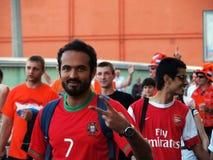 Les fans des équipes de football prévoient le résultat de match du Portugal contre les Pays-Bas Images libres de droits