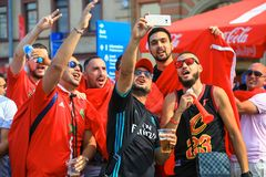 Les fans marocains célèbrent le but de l'équipe de football de ressortissant du Maroc Photo libre de droits