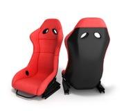 Les fauteuils rouges sportifs 3d d'automobile rendent sur un fond blanc Photo stock