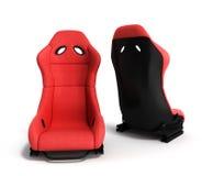 Les fauteuils rouges sportifs 3d d'automobile rendent sur un fond blanc Photos stock