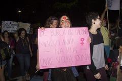 Les femmes agissent contre le viol collectif à Rio Photographie stock libre de droits