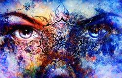 Les femmes bleues de déesse observent, fond multicolore avec photographie stock libre de droits