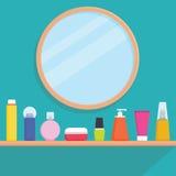 Les femmes bourrent écrème, les parfums, produits de soin pour la peau sur l'étagère - dirigez l'illustration plate de style Photos stock