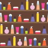 Les femmes bourrent écrème, les parfums, produits de soin pour la peau sur l'étagère - dirigez l'illustration plate sans couture  Photo libre de droits