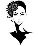 Les femmes court-circuitent l'icône de coiffure, femmes de logo avec des fleurs sur le fond blanc Photographie stock libre de droits