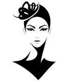 Les femmes court-circuitent l'icône de coiffure, femmes de logo sur le fond blanc Photo stock