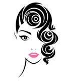 les femmes court-circuitent l'icône de coiffure, visage de femmes de logo Photographie stock libre de droits
