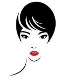 Les femmes court-circuitent l'icône de coiffure, visage de femmes de logo sur le fond blanc Photo stock