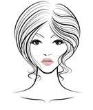 Les femmes court-circuitent l'icône de coiffure, visage de femmes de logo sur le fond blanc Photos libres de droits
