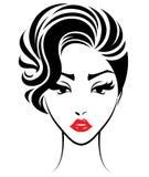 Les femmes court-circuitent l'icône de coiffure, visage de femmes de logo sur le fond blanc Photos stock